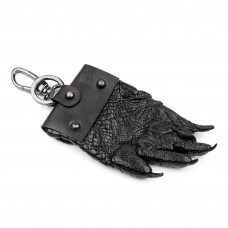 Keychain CROCODILE LEATHER 18228 genuine leather crocodile Black