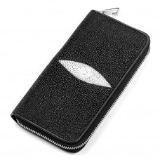 Wallet-clutch 18043 STINGRAY LEATHER genuine Stingray Black