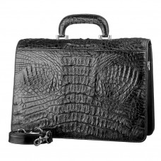 Briefcase CROCODILE LEATHER 18048 genuine leather crocodile Black