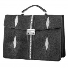 Briefcase STINGRAY LEATHER 18114 genuine leather Stingray Black