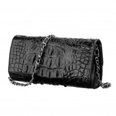 Clutch bag CROCODILE LEATHER 18242 genuine leather crocodile Black