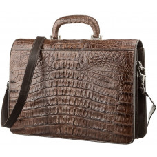 Portfolio mens CROCODILE LEATHER 18261 genuine leather crocodile Brown