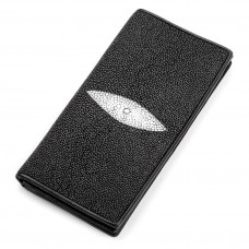 Wallet men's STINGRAY LEATHER 18040 genuine leather Stingray Black