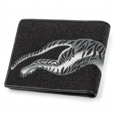 Wallet men's STINGRAY LEATHER 18060 genuine leather Stingray Black