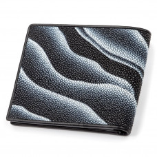 Wallet men's STINGRAY LEATHER 18061 genuine leather Stingray Black