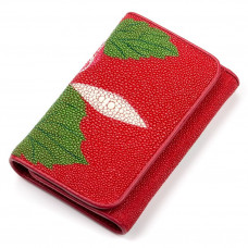 Wallet women STINGRAY LEATHER 18077 genuine leather Stingray Red