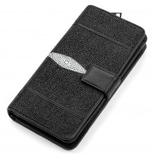 Wallet clutch STINGRAY LEATHER 18106 genuine leather Stingray Black