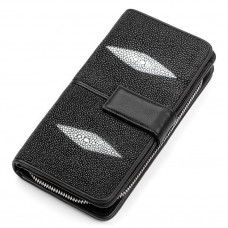 Wallet clutch STINGRAY LEATHER 18107 genuine leather Stingray Black