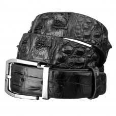 Belt men's CROCODILE LEATHER 18008 genuine leather crocodile Black