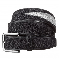 Men's belt STINGRAY LEATHER 18195 genuine leather Stingray Black