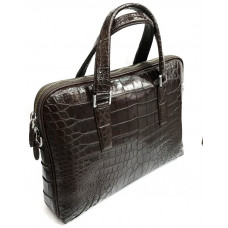 Business bag made of crocodile skin (Brown DCM101)