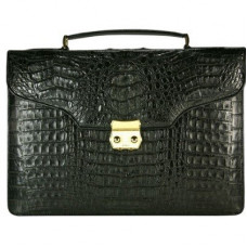 Portfolio mens leather crocodile 1453. DCM 38 G Black