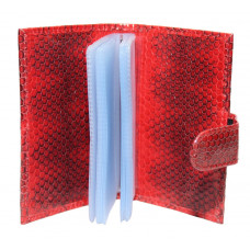 Business card holder made from skin of the snake (SNCH 18-1 Fire red)