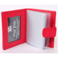 Business card holder Stingray leather STCH 08 Fire red