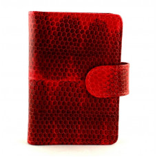 Business card holder made from skin of snakes (N-311red)