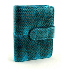 Business card holder made from skin of snakes (N-811Turquoise)
