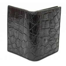 Business card holder made of crocodile skin (SS 01 B Black)