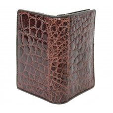 Business card holder made of crocodile skin (SS 01 B Brown)