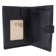 Men's wallet with compartment for documents Stingray leather STP Black 9001